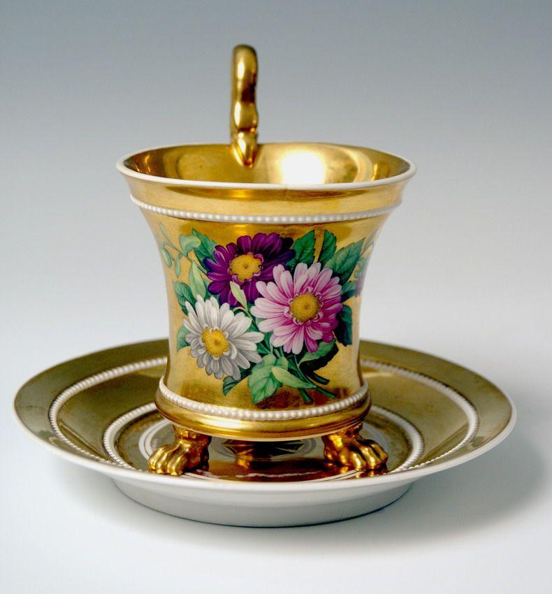 kpm berlin bild tasse gold 3 l wentatzen blumen schlangenhenkel kpm cup um 1835 ebay. Black Bedroom Furniture Sets. Home Design Ideas