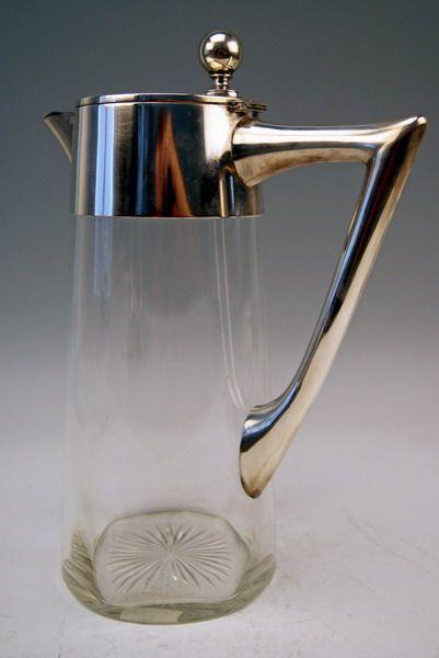 riesige glas karaffe krug silber montierung a huge glass pitcher deutsch um 1900 ebay. Black Bedroom Furniture Sets. Home Design Ideas