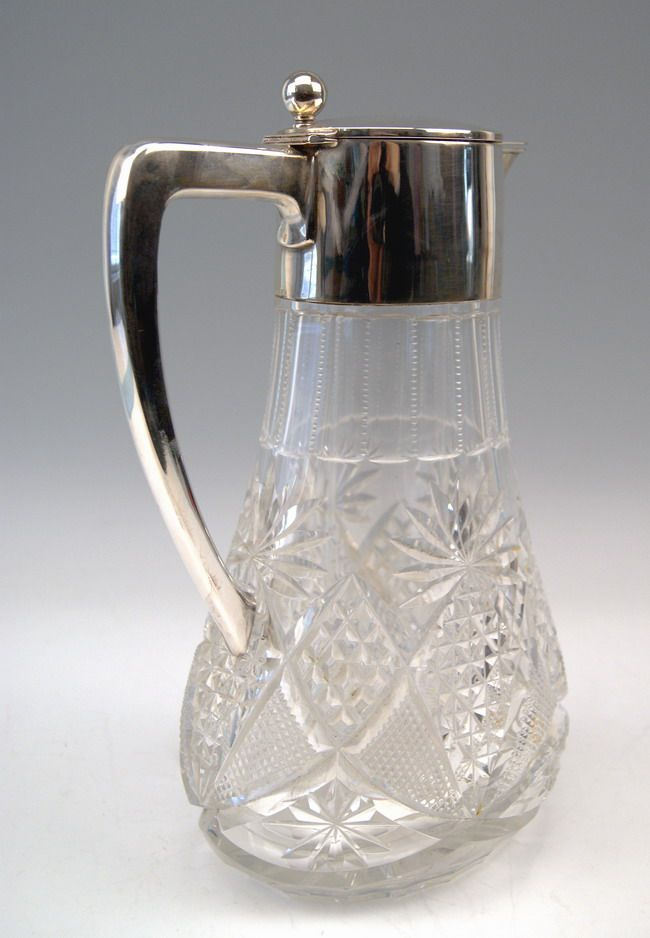 grosse glas karaffe krug silber huge glass pitcher deutsch w binder um 1900 ebay. Black Bedroom Furniture Sets. Home Design Ideas