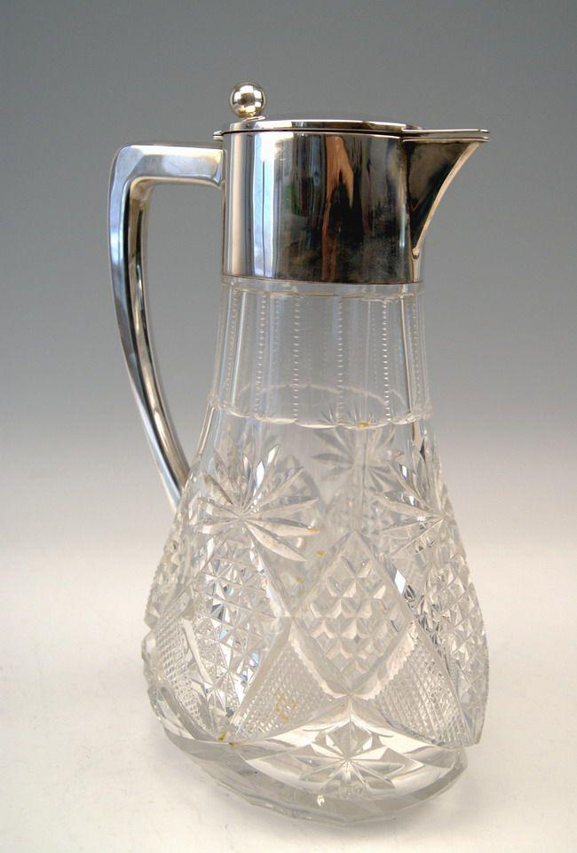 grosse glas karaffe krug silber huge glass pitcher deutsch w binder um 1900 ebay. Black Bedroom Furniture Sets. Home Design Ideas
