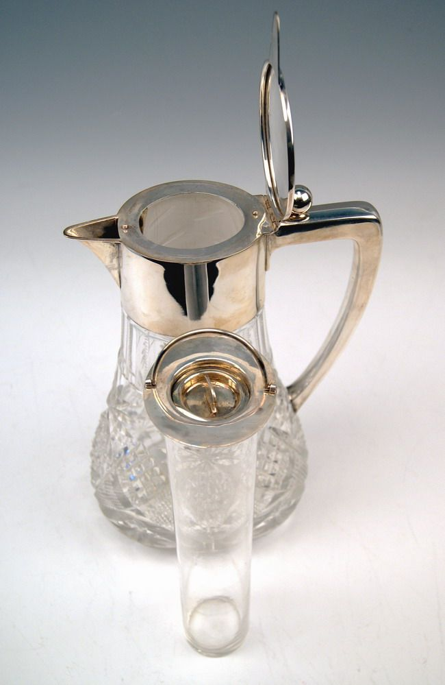 grosse glas karaffe krug silber huge glass pitcher deutsch. Black Bedroom Furniture Sets. Home Design Ideas