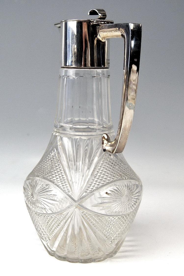 silber glas karaffe krug silver huge glass pitcher deutsch bachruch um 1900. Black Bedroom Furniture Sets. Home Design Ideas