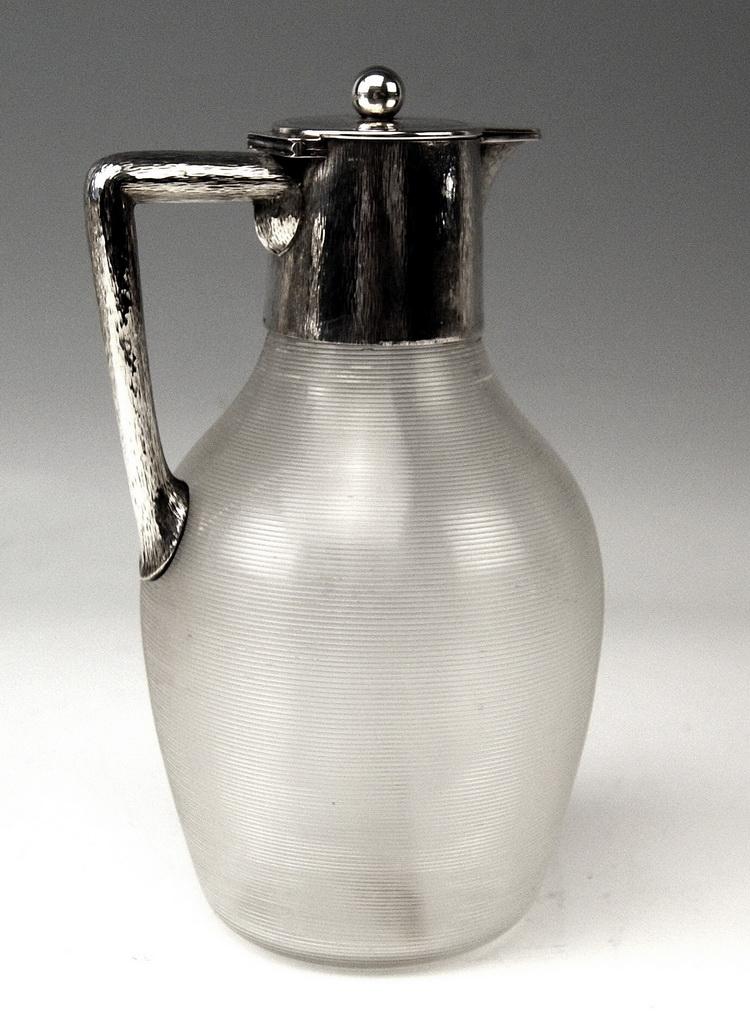 silber glas karaffe krug silver huge glass pitcher deutsch wappen weese um 1900 ebay. Black Bedroom Furniture Sets. Home Design Ideas