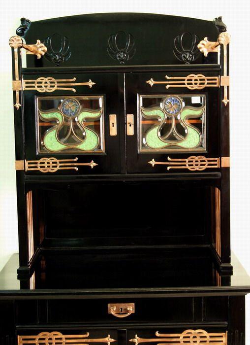 jugendstil kredenz schwarz anrichte wien art nouveau sideboard um 1900 rarit t ebay. Black Bedroom Furniture Sets. Home Design Ideas