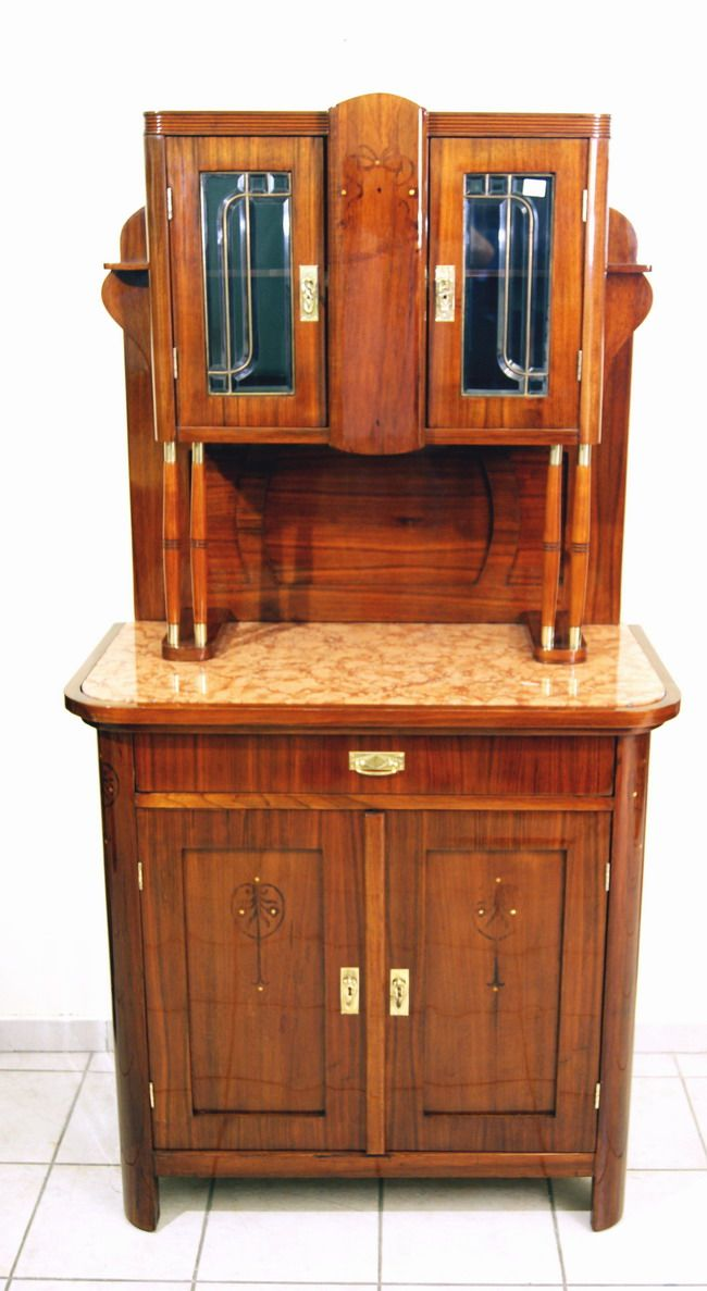 wiener jugendstil kredenz mahagoni furniert vienna art nouveau sideboard um 1900 ebay. Black Bedroom Furniture Sets. Home Design Ideas