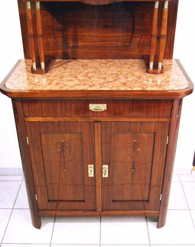 wiener jugendstil kredenz mahagoni furniert vienna art nouveau sideboard um 1900 ebay. Black Bedroom Furniture Sets. Home Design Ideas
