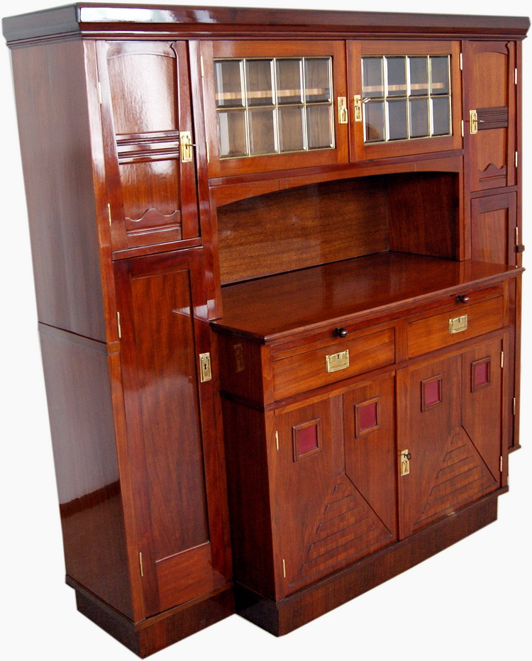 jugendstil kredenz anrichte mahagoni art nouveau large sideboard wien um 1900 ebay. Black Bedroom Furniture Sets. Home Design Ideas