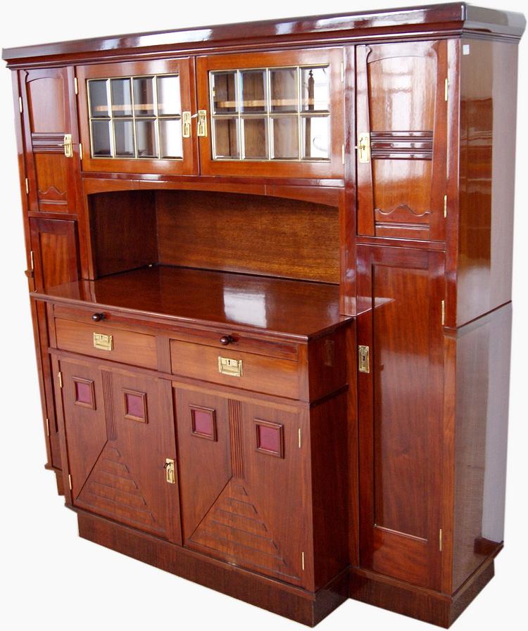 jugendstil kredenz anrichte mahagoni art nouveau large sideboard wien um 1900 ebay. Black Bedroom Furniture Sets. Home Design Ideas