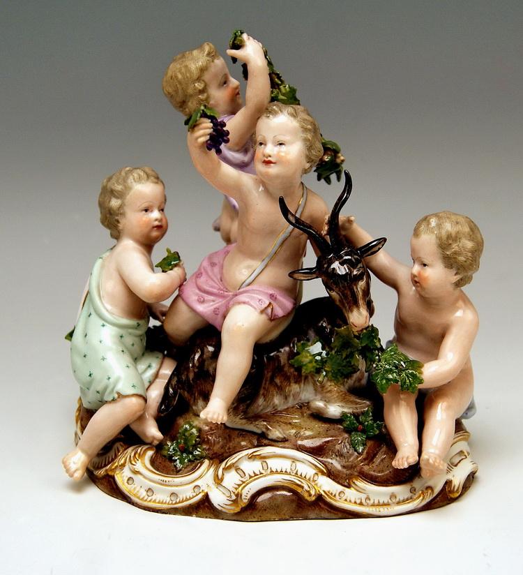 MEISSEN FOUR SEASONS FIGURINES VIER PUTTEN JAHRESZEITEN VINTAGE BY KAENDLER MADE CIRCA 1850