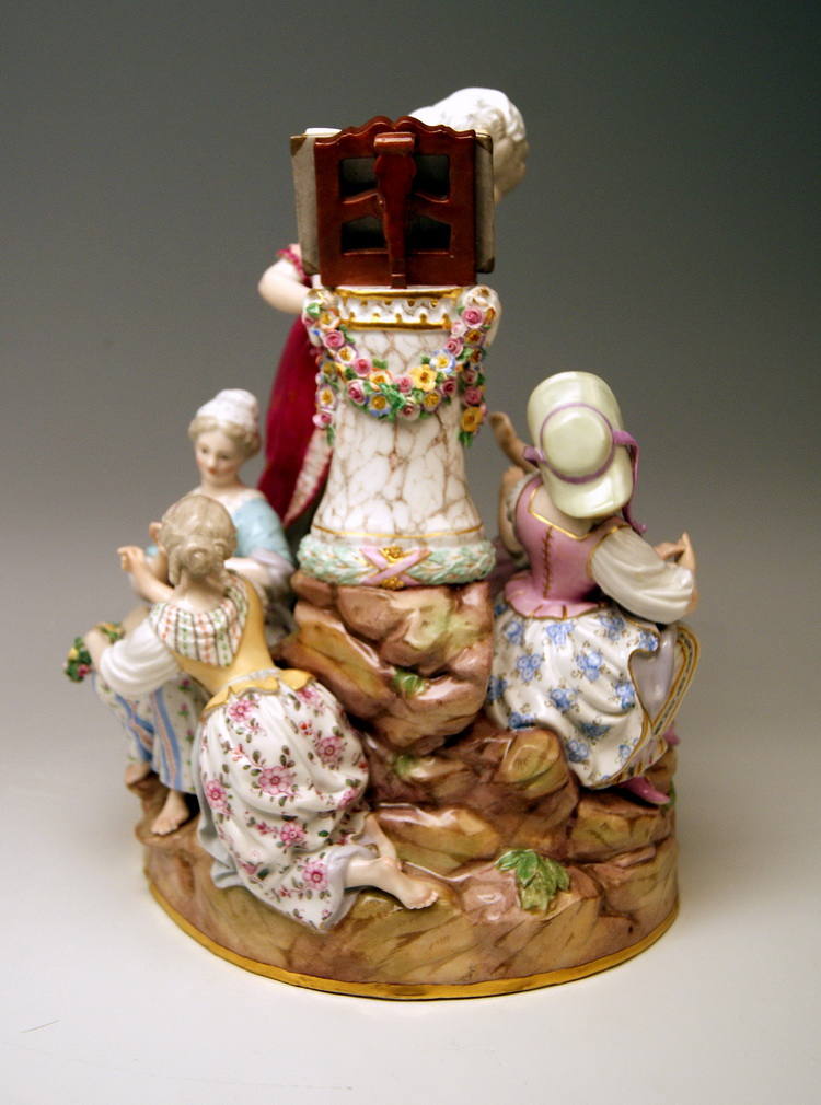 MEISSEN FIGURINE GROUP LESSONS IN LOVE LIEBESSCHULE BY ACIER VINTAGE MADE CIRCA 1870