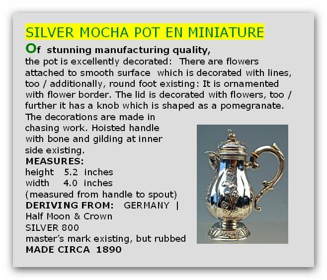 Silber miniatur mokka kanne deutsch silver mocha pot en for Englisch krone